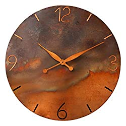 Oversized 24-inch Handmade Copper Wall Clock - Rustic 7th Anniversary Gift