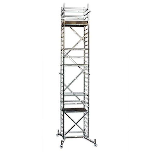 ALTEC Rollfix 900, Arbeitshöhe 9 m neu, inkl. teleskopierbarer Traversen, Rollen (Ø 125 mm) und Wandanker, TÜV-geprüft,