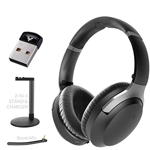 Avantree DG40S Bluetooth USB Adapter for PC and Aria Podio aptX-HD Low Latency Bluetooth 5.0 Noise Cancelling Headphones with Boom Mic & Charging Stand