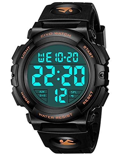 CIVO Reloj Hombre Relojes Militares Digitale Deportivos con Grandes Números a Prueba de Agua hasta 50M Relojes de Pulsera Casual para Hombres de Goma Negro Naranja