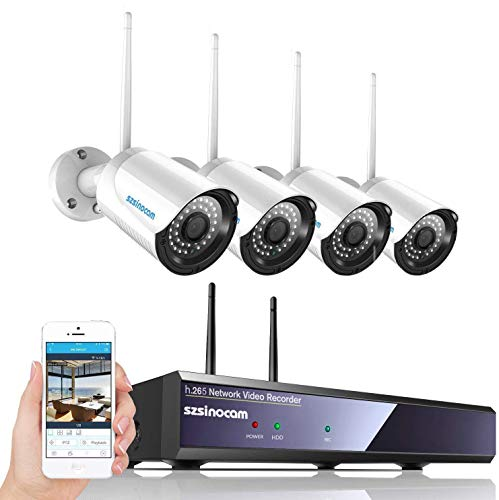 Kit Telecamere Videosorveglianza WiFi 4CH NVR da Esterno, SZSINOCAM Telecamera Sorveglianza 1080P Full HD con Visione Notturna,Motion Detection,Allarme E-mail,IP66 Impermeabile,plug & play
