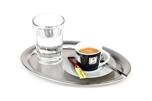"""APS Serviertablett """"Kaffeehaus"""", klassisches Wiener Kaffeehaus Tablett, Edelstahl Tablett, matt poliert, oval, Rand eingerollt, 19 x 15 cm, 1 cm Höhe"""