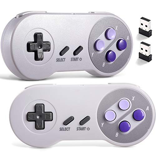 suily 2.4 G Wireless Controller für Classic SNES NES, wiederaufladbare USB Gamepad für PC, Raspberry PI (Betriebssystem, Windows, Linux, Android), 2 Pack