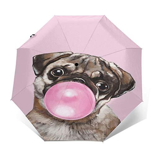 TISAGUER Paraguas automático de Apertura/Cierre,Pink Cute Style,un Perro Sharpei soplando Chicle,Paraguas pequeño Plegable a Prueba de Viento