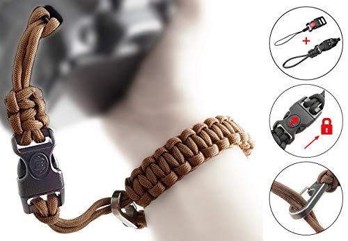 Kamera-Handschlaufe aus Paracord - 2X klick-Verschluss mit Sperre für DSLR und Kompakt-Kamera - BRAUN - Handgelenk-Schlaufe Kameraschlaufe Kameraband Trageschlaufe - MIND CARE ESSENTIALS