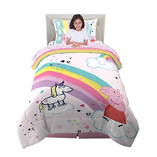 Franco Kids Bedding Super Soft Comforter and Sheet Set, 4 Piece Twin Size, Peppa Pig