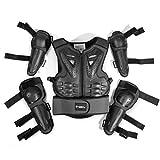 Combinaison de protection pour moto pour enfant de 5 à 13 ans pour motocross, cyclisme, ski, skateboard, roller., Noir