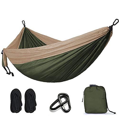 GZSC Hamac Camping Parachute Hamac Survie Jardin Mobilier D'extérieur Loisirs Dormir Voyage Voyage Double Hamac 300 * 200 cm (Color : Army Green and Khaki)