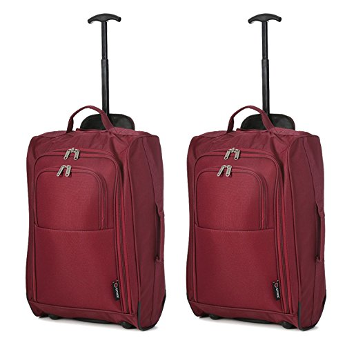 5 Cities Set of 2 Super Lightweight Cabin Approved Luggage Travel Wheely Suitcase Wheeled Bags Bag Juego de maletas 55 centimeters 42 Rojo (Wine)