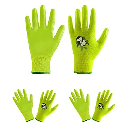 HLDD HANDLANDY Kinder-Gartenhandschuhe, 3 Paar Bonbonfarben, Kinder-Gartenhandschuhe mit gummierter Handfläche, für Kinder von 2–13 Jahren, Mädchen und Jungen (Grün, 3 Paar, Size 2 (Age 2-4))