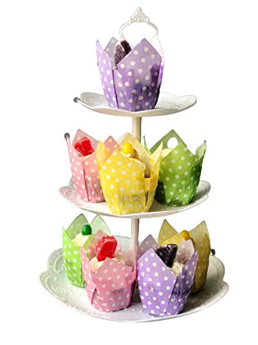 The Baker Celebrations 100 Polka Dot Tulip Paper Cups 2 x 3 1/4 inch Muffin Liners; Cupcake Holders - Made in Canada - Purple Yellow Green and Pink (25 of each)