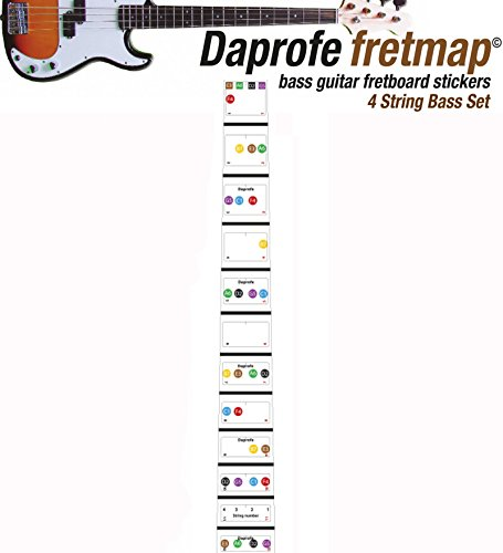 Daprofe Bass Guitar Fretboard Note Map Fingerboard Removable Vinyl Stickers 22 Fret Coverage