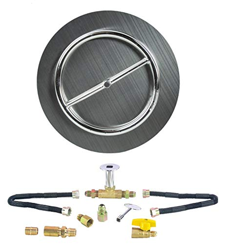 Dreffco Fire Pit 18' Stainless Steel Flat Pan with 12' Stainless Steel Burner Ring Kit, Complete with New Deluxe Connection LP Kit!