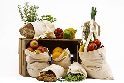 GreenViron Hochwertige & Extra Stabile Obst- und Gemüsebeutel - Inkl. Großer Einkaufstasche und Brotbeutel - 100% Baumwolle mit Gewichtsangabe- Langlebige und Wiederverwendbare Aufbewahrungstaschen