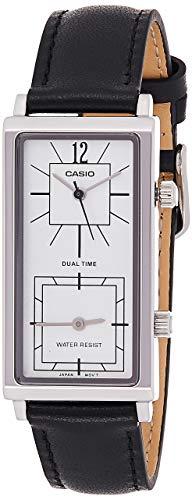 Casio LTP-E151L-7B Damen Armbanduhr Enticer Dual Time schwarzes Lederband weißes Zifferblatt Analog