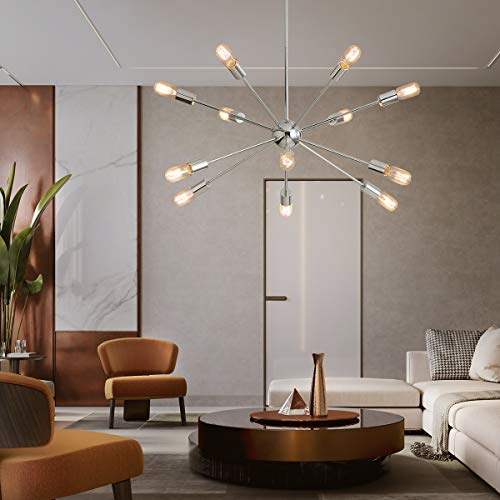 KDG Chandeliers 12-Lights Modern Sputnik Chandeliers Mid Century Pendant Lighting Brushed Nickel Ceiling Light Fixture for Kitchen Dining Room Living Room (Silver 12 Light)