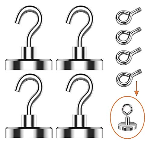 EVISWIY 100LBS Magnetic Hooks for Grill Tools Pot Holders Oven Mitts with 4 Eyebolt Hooks Strong Heavy Duty Magnet Hook Hanger for Cruise Cabins Refrigerator Lockers Outdoor 4 Pack Silver