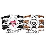 Bestchong Shut Up Esqueleto Online Cara Dibujos Animados Pulsera Correa De Mano Cuerda De Cuero Forever Love Wristband Set Doble
