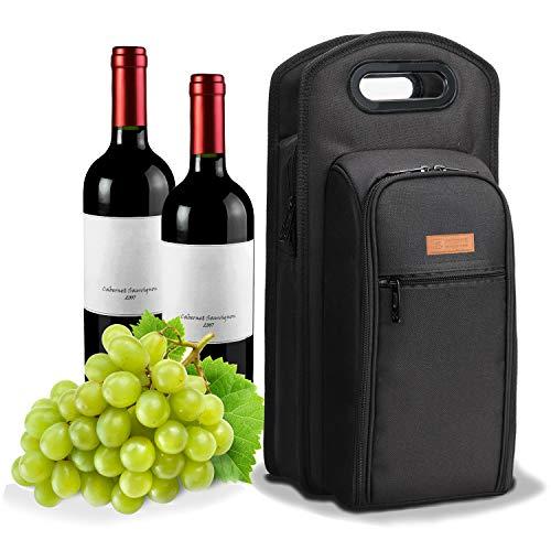 ALLCAMP Weinkühltasche mit Kühlfach, 2 Sets Geschirr Weintasche Large 2 Person Black