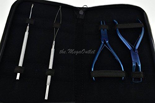 Micro Ring Extensions de cheveux Bleu Pince avec anneau Remover et boucle tirer Aiguilles