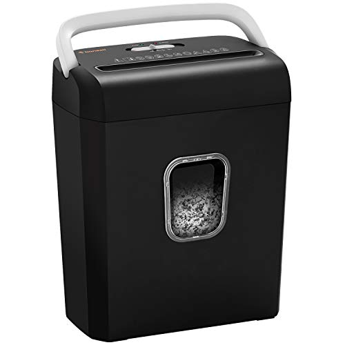 Bonsaii 8-Sheet Cross-Cut Paper Shredder, P-4 High-Security Credit Card & Staples Shredder Machine for Home Office Use, Portable Handle Design with 3.5 Gallons Wastebasket, Silver (C234-B)