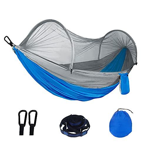 YUYDYU Hamaca de camping con mosquitero, portátil, ligera, para exteriores, con red de insectos, ligera, portátil, para exteriores, aventuras, senderismo, viajes