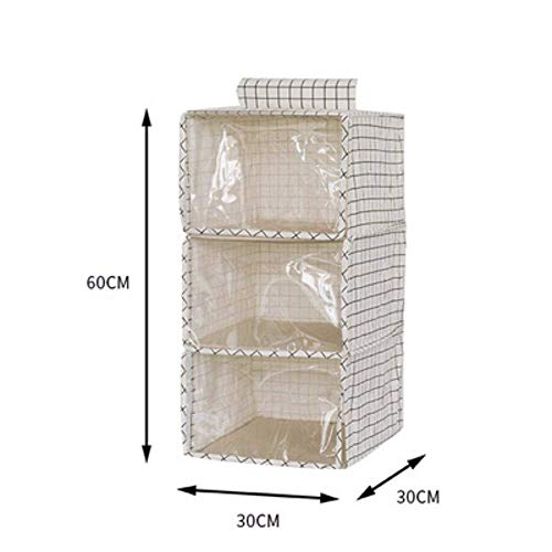 ZXL Opbergdoos, kledingkast, driedimensionaal katoen en hennep hangende tas met zachte gordijnen, kledingkast, kleding, meerlaagse ontvangsttas, B