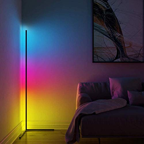 20W RGB Color Changing Standing Corner Lamp, Dimmable LED Smart Floor Lamp for Living Room Bedroom with Remote Controller, 55' Tall Aluminium Alloy Tripod Shelf, (Black)