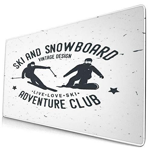 Custom Office Mauspad,Ski- und Snowboard-Abenteuerclub,Anti-Rutsch-Gummiunterseite Gaming-Mauspad-Matte Schreibtisch-Dekor 15,8