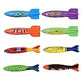 ZHFUYS Pool Toy Throwing Torpedo Shark Torpedo Diving Toy,8 Pack