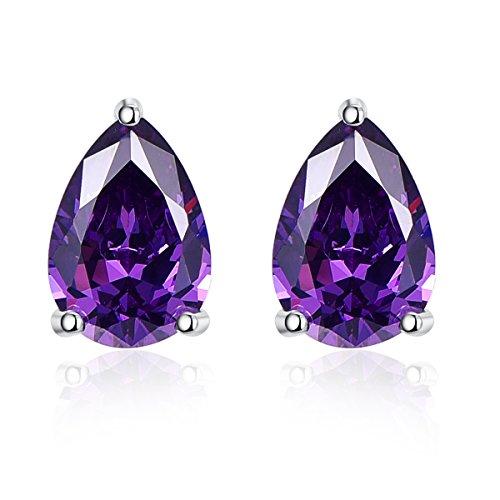 bonlavie 925Sterling Silber 6,4CT 7x 10mm violett Amethyst Geburtsstein Ohrstecker für Frauen Abschlussball