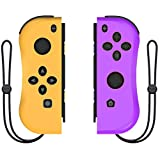 Joy Con Controller Replacement Campatiable for Nintendo Switch - Left and Right Neon Joycon Pad with Wrist Strap, Alternatives for Nintendo Switch Controllers, Wired/Wireless L/R Switch Remotes