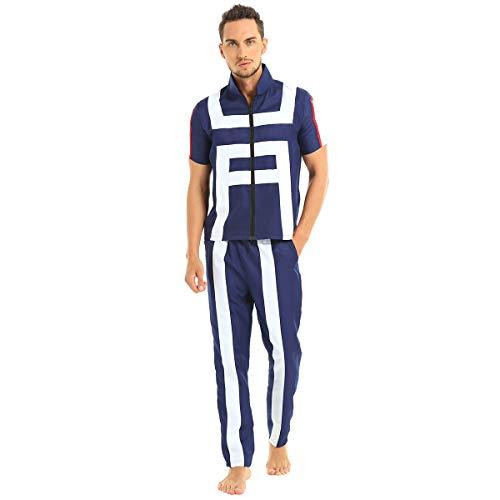 FEESHOW Erwachsene Gymnastik Uniformen Sportlich Kurzarm Shirt und lockere Hose Cosplay Kostüm Japanisisch Anime Verkleidung Blau Blau M