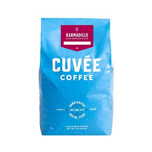 Cuvée Coffee, Karmadillo, Whole Bean Dark Roast, Darker Espresso Blend, 5 Pound Bag