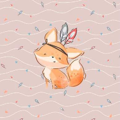 Herz Stoffe Österreich 1 French Terry Panel mit süßem Indianer Fuchs | Boho Tiere Kinderstoff für Jungen | ca. 40x50cm