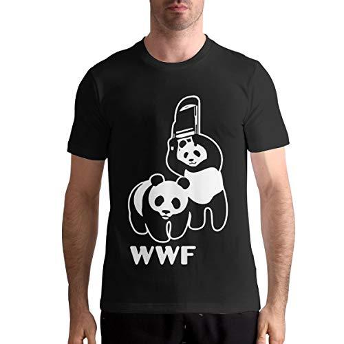 WWF Panda Mens Cotton Tops Short Sleeve Round Neck T-Shirt L Black