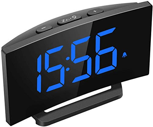 Mpow Despertadores Digitales, Reloj Despertador Digital, Pantalla Curva LED de 5\'\', 6 Niveles de Brillos Ajustables, 3 Sonidos de Alarma, 2 Volúmenes, Puerto USB,Snooze,12/24 Horas(sin Adaptador)