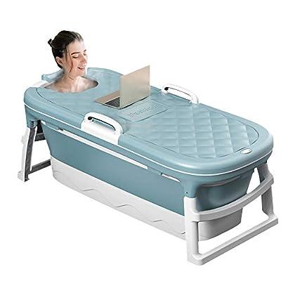 S SMAUTOP Adult Foldable Portable Massage Bathtub, Foldable Children's Bathtub, Household Bathtub, Shower Room Soaking Bathtub, With Thermostatic Cover Blue 54.3 inches