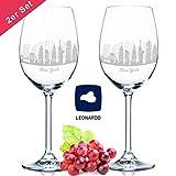 Leonardo Weinglas mit Gravur - New York Skyline im Set - Geschenk für Anspruchsvolle & Weingenießer - Souvenir Andenken Stadt Mitbringsel - Geburtstagsgeschenk Weihnachtsgeschenk