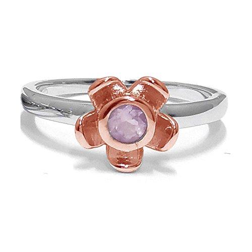 El joyero de anillo de no me olvides de florista & # 10047; & # 10047; Rosa Quarts & # 10047; Oro Rosa