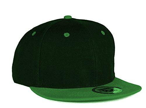 4sold ABC Rot Schwarz Cap Snapback Baseballkappe Druckknopfverschluss verstellbar mit flachem Schirm viele Farben (Black Green)