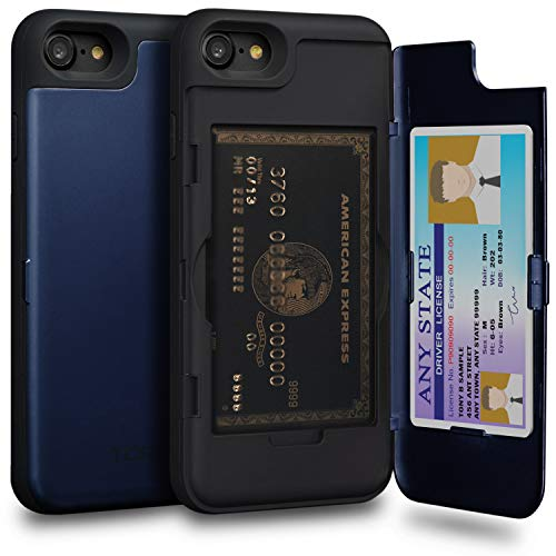 TORU CX PRO iPhone 8 Wallet Case Blue with Hidden Credit Card Holder ID Slot Hard Cover & Mirror for iPhone 8 / iPhone 7 - Navy Blue