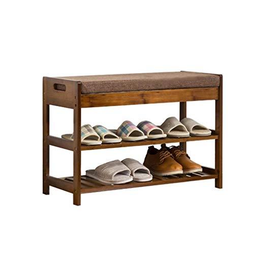 Zapatero Estante para zapatos, taburete Taburete de almacenamiento de 2 capas con cojín del asiento Taburete de bambú Corredor de almacenamiento de madera a prueba de polvo Zapatera ( tamaño : 52cm )