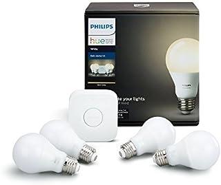 Philips Hue White A19 60W Equivalent LED Smart Light Bulb Starter Kit, 4 A19 White Smart Bulbs and 1 Hub, Works with Alex...