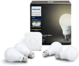 Philips Hue White A19 60W Equivalent LED Smart Light Bulb Starter Kit, 4 A19 White Smart Bulbs and 1 Hub, Works with Alexa, Apple HomeKit and Google Assistant, (All US Residents)