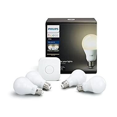 Philips Hue White A19 60W Equivalent LED Smart Light Bulb Starter Kit, 4 A19 White Smart Bulbs and 1 Hub, Works with Alexa, Apple HomeKit and Google Assistant, (California Residents)