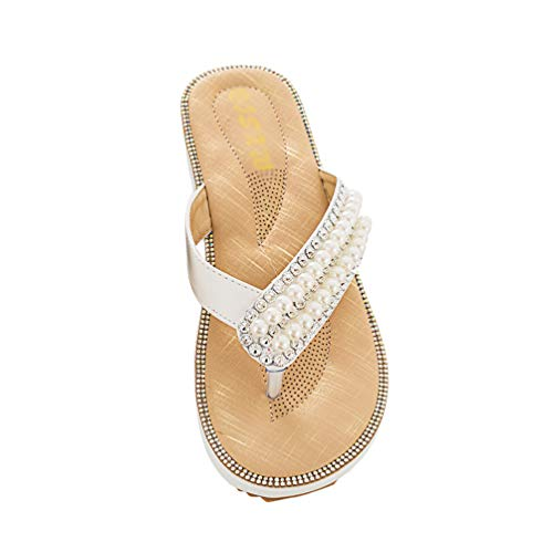 TianBin Zehentrenner Damen rutschfest Böhmen Sandalen T-Strap Lässig Flip Flops Flache mit Glitzer Perlen (Weiß, 42 EU)