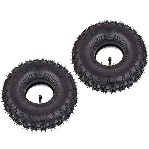 RUTU 2 Pack of 4.10-4 410-4 4.10/3.50-4 Inner Tubes + Tires for Garden Rototiller Snow Blower Mowers Hand Truck Wheelbarrow Go Cart Kid ATV