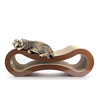 Eono Cat Scratcher Lounge Kitten Scratching Cardboard Sofa Pad, Double Side steady small Animal Pet Resting Construction, Large