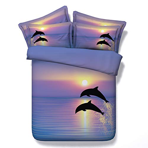 Royal Linen Colorful ocean and dolphins under sunshine duvet cover bedding sets 3pcs kids natural bed linen with 1 quilt cover 2 shams (JF034, Full)